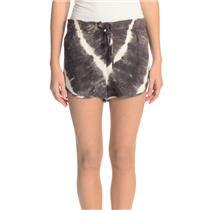Size S Rory Beca Brown White Rayon Tie-Dye Dolphin Shorts w/Drawstring Waist