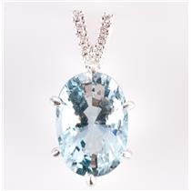 18k White Gold Oval Cut Aquamarine Solitaire Pendant W/ Diamond Accents 5.96ctw
