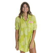 S HIHO Voile Printed Barbara Beach Shirt Dress Cover Up Tunic Avacado Rope Print