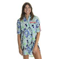 S HIHO Voile Cotton Printed Barbara Beach Shirt Dress Cover Up Tunic Blue Foam