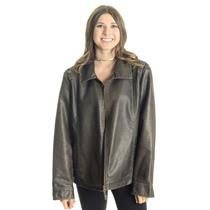 XL FDJ French Dressing Dark Brown Faux Leather Zip Front Collared Lined Jacket