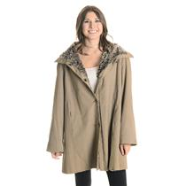 L Rain Cheetahs by Naman Camel Brown Cozy Lined Hooded Jacket w/Grommet Closure