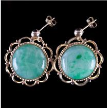 Vintage 1960's 14k Yellow Gold Jade Buttons Converted To Post Earrings