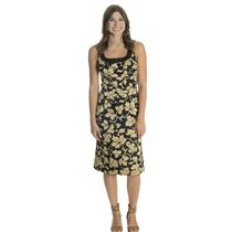 6 NWT Donna Ricco Black Gold Floral Print Satin Knee Length Shift Dress 8096174M