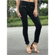 Size 4 Not Your Daughter's Jeans Black Super Skinny Front Zippers Stretch Ankle