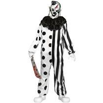 Killer Clown Black White Creepy Scary Clown Halloween Costume Teen