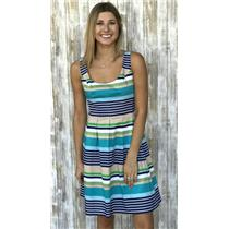 4 Nine West Navy Green Tan White Striped Sleeveless Fit and Flare Zip Up Dress
