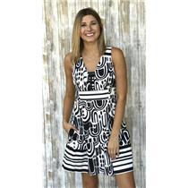 6 Nanette Lepore Black & White Geometric Print Sleeveless Fit and Flare Dress