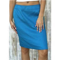 6P Tahari Petite Cerulean Blue Classic Woven Knee Length Pencil Skirt Back Slit