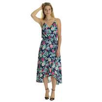 RARE S NEW Joie Ruzena Navy Blue Multi-Color Floral Wrap High Low Skirt Dress