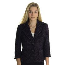 10 NWT Joseph Ribkoff Purple Snap Button Black Fringe Short Pea Coat Jacket