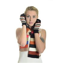 "NWT K & J Trading Acrylic Knit Striped Scarf/Gloves Set 10"" x 60"" Autum Colors"