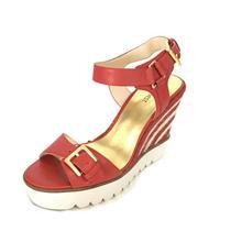 NIB 9.5 Nine West Red Leather April Shower White Stripe Espadrille Wedge Sandal