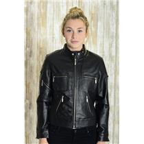 Sz 6 CLIO 100% Black Leather Motorcycle Jacket w/Metal Zippers at Pockets EUC