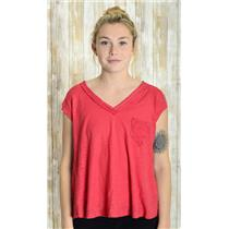 Sz XS Postage Stamp Anthropologie Red Jersey Knit  V-Neck Stitching Detail Top