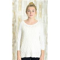 Sz M Yellow Bird Anthropologie Ivory Crew Neck Thin Knit Textured Front Sweater