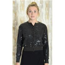 Sz S Ralph Lauren Collection 100% Cashmere Charcoal Gray Sequined Sweater