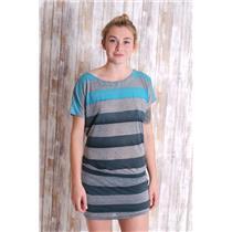 S Gypsy 05 Women's Raya Jersey Stripe Cap Sleeve Mini Dress in Heather Grey/Teal