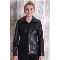XS Cole Haan Black Lambskin Leather Zip Front Collared Panel Front Long Jacket