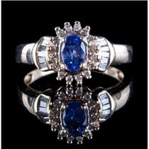 10k Yellow Gold Oval Cut Tanzanite & Diamond Halo Cluster Ring .78ctw