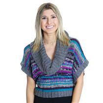 M NWT LinQ Cowl Neck Sweater Angora Blend Grey Intarsia Crop Boxy Dolman Sleeve