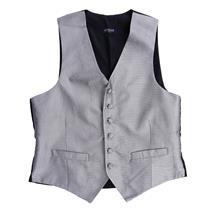 S NWT Lubiam Mens Formal Attire Silver Diamond Button Front Silk Tuxedo Vest