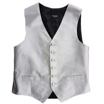 S NWT Lubiam Mens Formal Attire Silver Diamond Thatch Button Front Silk Vest