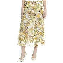 12 NWT Madison Hill Yellow Floral Chiffon Crinkle Crepe A Line Maxi Ankle Skirt
