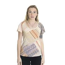 S Lucky Brand Jeans Braided Neck Aztec Print Jersey Top Flutter Sleeves 7W603