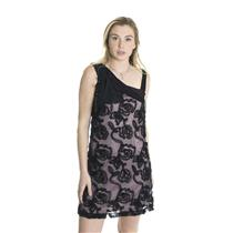 L NWT Weston Wear Valley Blush Dress Black Violet Mesh Swirl Chiffon Beads/Bow