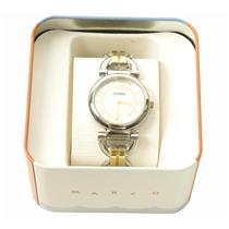 New Fossil BQ1603 Women's Two Tone Steel Band With White Analog Dial Watch
