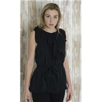 S BCBG Max Azria 100% Silk Black Tiered Ruffle Pleated Key Hole Back Blouse/Top