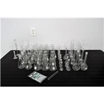 Lab Glass Assortment of Erlenmeyer Flasks- Gradient Cylinder & Kjeldahl Flask