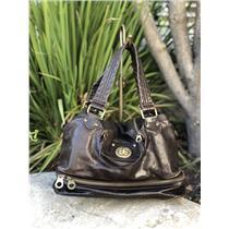 Marc by Marc Jacobs Posh Chestnut Medium Handbag Brass Details Multi Pocket