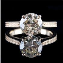 14k Yellow Gold Round Cut Diamond Solitaire Vintage Style Engagement Ring 2.51ct