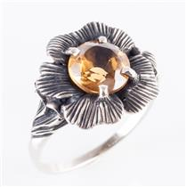 14k White Gold Round Cut Citrine Solitaire Vintage Style Flower Ring 1.75ct