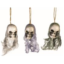 3 Bloody Hanging Skulls with Mesh Netting Hoods