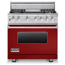"Viking Professional Serie 36"" Apple Red Pro-Style Dual-Fuel Range VDSC5364GARLP"