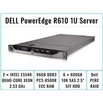DELL PowerEdge R610 1U Server 2×Quad-Core Xeon 2.53GHz + 96GB RAM + 6×600GB RAID