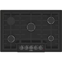 "Bosch 800 Series 30"" 5 Burner Red LED Black Stainless Gas Cooktop NGM8046UC"