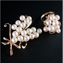 Vintage 1940's 14k Yellow Gold Akoya Cultured Pearl Ring & Brooch Set 19.6g