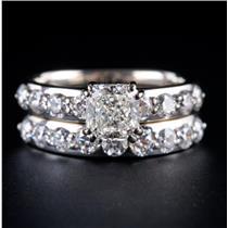 14k White Gold Cushion Cut Diamond Solitaire Engagement Wedding Ring Set 2.22ctw