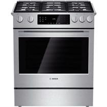Bosch 800 Series 30 Inch 5 Sealed Burners Slide-In Gas Range HGI8054UC Stainless