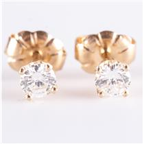 14k Yellow Gold Round Brilliant Cut Diamond Solitaire Stud Earrings .33ctw