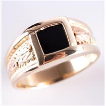Men's 10k Black Hills Gold Square Cut Solitaire Onyx Leaf Style Ring 6.7g