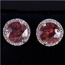 14k White Gold Round Cut Cognac Zircon & Diamond Halo Stud Earrings 2.14ctw