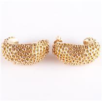 14k Yellow Gold Granulation Style Huggie Half Hoop Stud Earrings 3.9g