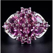 10k White Gold Oval & Round Cut Pink Topaz Cluster Cocktail Ring 1.73ctw