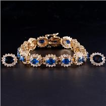 14k Yellow Gold Oval Cut Sapphire & Diamond Bracelet Earring Set 18.84ctw