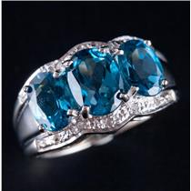 10k White Gold Oval Cut London Blue Topaz & Diamond Cocktail Ring 4.10ctw